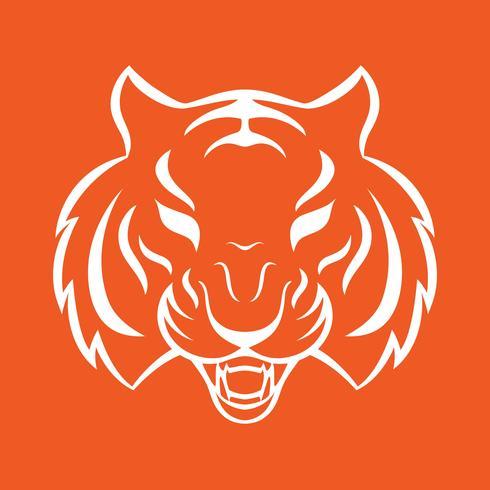 Icona della tigre isolato su uno sfondo bianco. Modello logo Tiger, disegno del tatuaggio, stampa t-shirt. vettore
