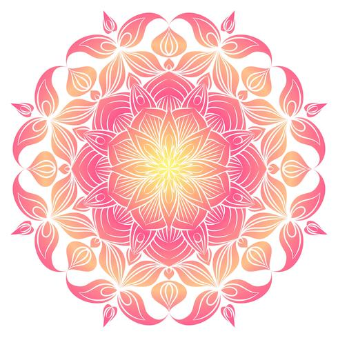 Vector Mandala ornament. Elementi decorativi d'epoca Modello rotondo orientale. Islam, arabo, indiano, turco, pakistan, cinese, motivi ottomani. Sfondo floreale disegnato a mano.