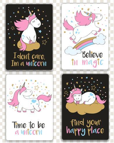 Set di carte con unicorni in stile cartone animato e lettere di ispirazione. Biglietti d'auguri con citazioni motivazionali. vettore