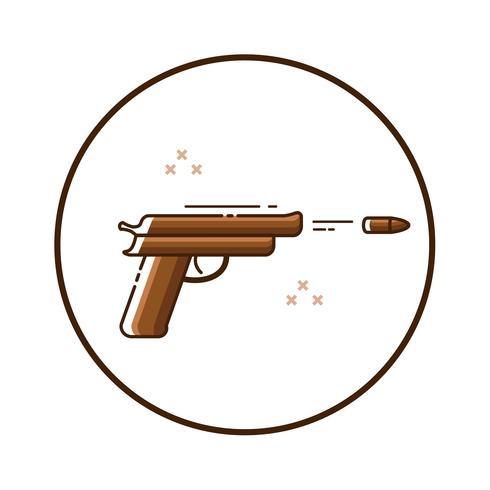 Icona della pistola di linea art vettore