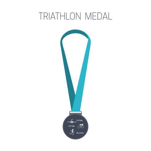 Medaglia di triathlon. Icona di sport. vettore
