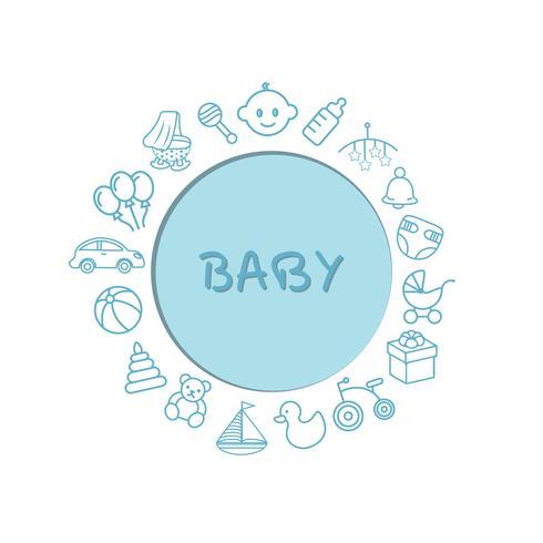 Carta per bambini con un motivo di giocattoli. Può essere usato come sfondo, invito, design. vettore