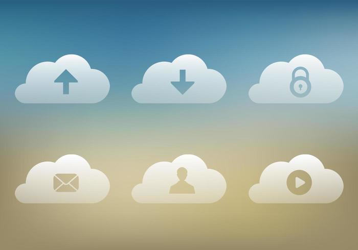 Pacchetto di icone vettoriali nuvola trasparente