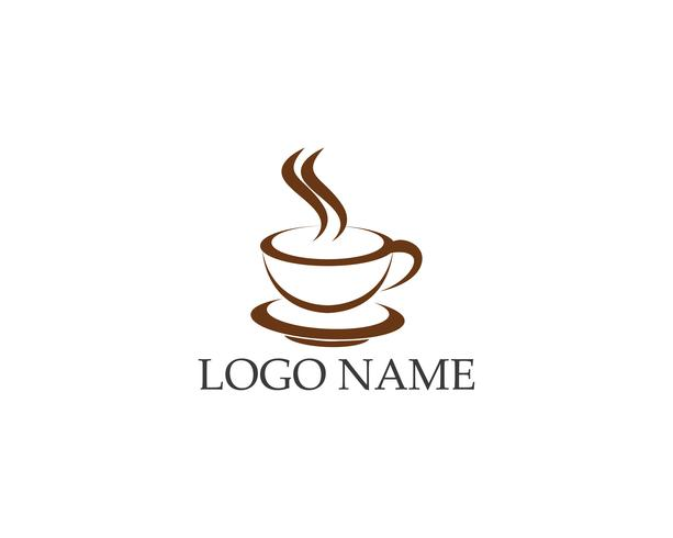 Progettazione dell'icona di vettore del modello di logo della tazza di caffè