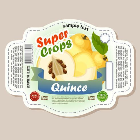 etichetta adesiva di mela cotogna vettore