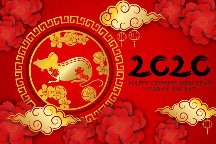 2020 Buon anno cinese. Progettare con fiori e ratto su sfondo rosso. stile di arte cartacea. felice anno del ratto. Vettore. vettore