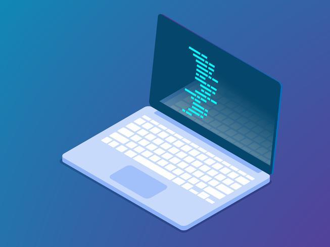 codifica con il vettore di laptop isometrico