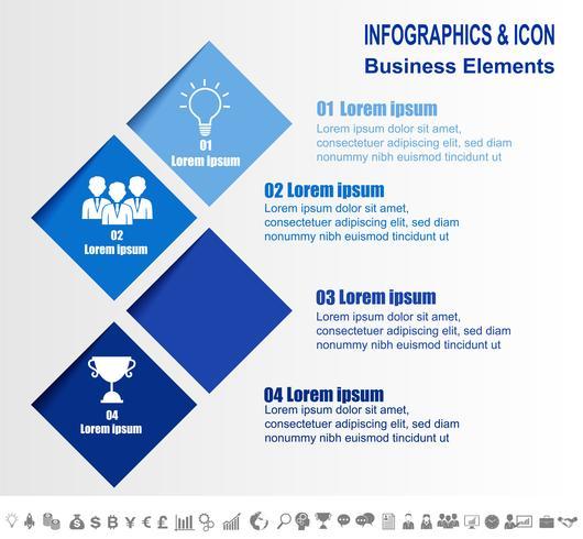 Modello di processo e icone di business timeline infografica. Concetto di business con 4 opzioni, passaggi o processi. Vettore. vettore