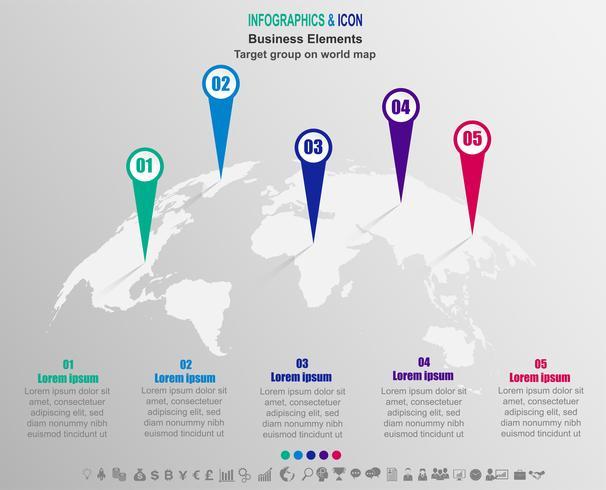 Business infografica Target group sulla mappa del mondo. le icone della mappa del mondo e del marketing possono essere utilizzate per il layout del flusso di lavoro, diagramma, report, .Vector. vettore