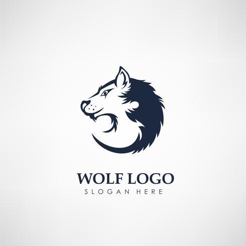 Modello di logo del concetto di lupo. Etichetta per caccia, compagnia o organizzazione. Illustrazione vettoriale