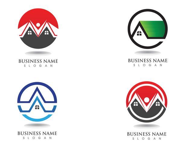 modello di icone logo e simboli di edifici vettore