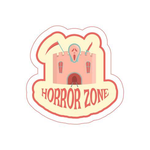 Adesivo con castello di orrore dei cartoni animati e testo. vettore