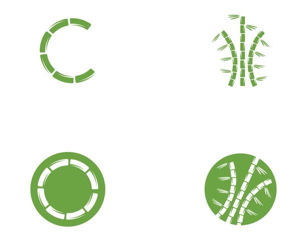 Logo di bambù con foglia verde per il tuo modello di icone vettoriali