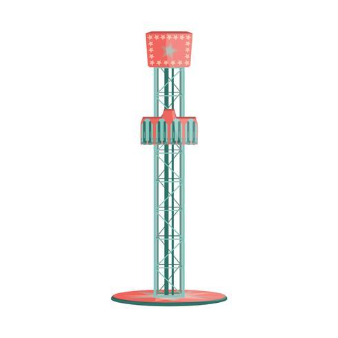 Icona di attrazione Torre di caduta libera dei cartoni animati. Giro del parco divertimenti. vettore