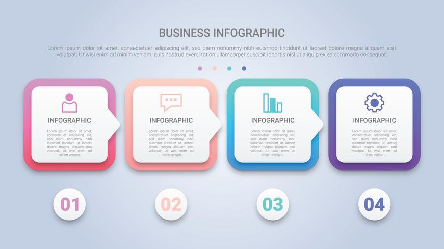 Modello di infografica 3D per le imprese con etichetta multicolore a quattro passi vettore