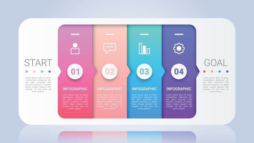 Modello di infografica moderna per le imprese con etichetta multicolore a quattro passi vettore