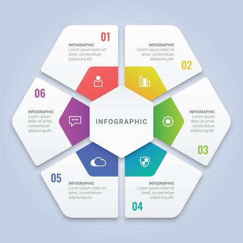 Modello di infographic 3D esagono con sei opzioni per layout del flusso di lavoro, diagramma, relazione annuale, web design vettore