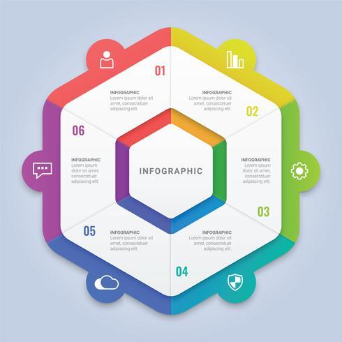 Modello di esagono infografica moderna con sei opzioni per layout del flusso di lavoro, diagramma, relazione annuale, web design vettore
