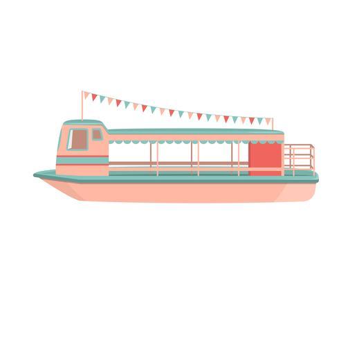 Motor cruiser. Icona del riverboat dei cartoni animati. vettore