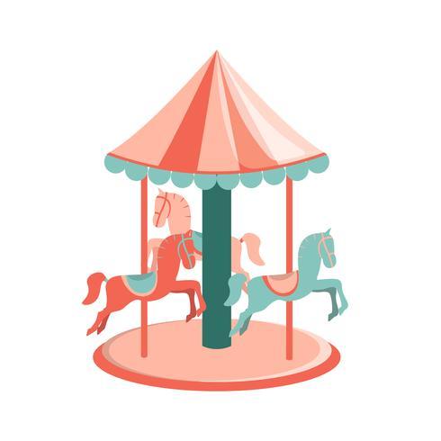 Giostra di cartone animato con cavalli. Icona del parco di divertimenti vettore