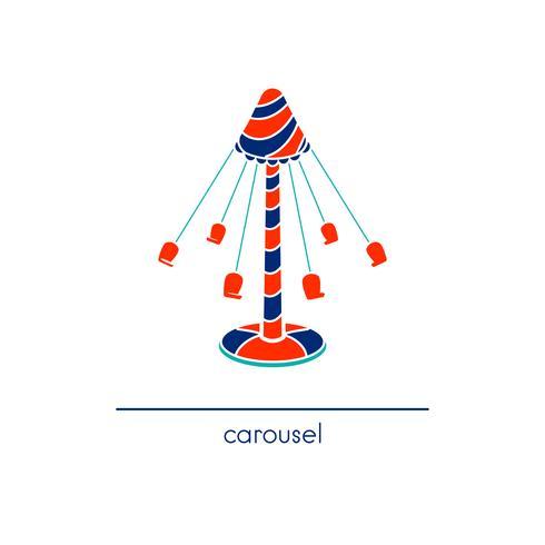 Line art Carousel. Icona di vettore del parco di divertimenti