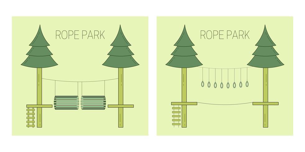 pista del parco di corda vettore