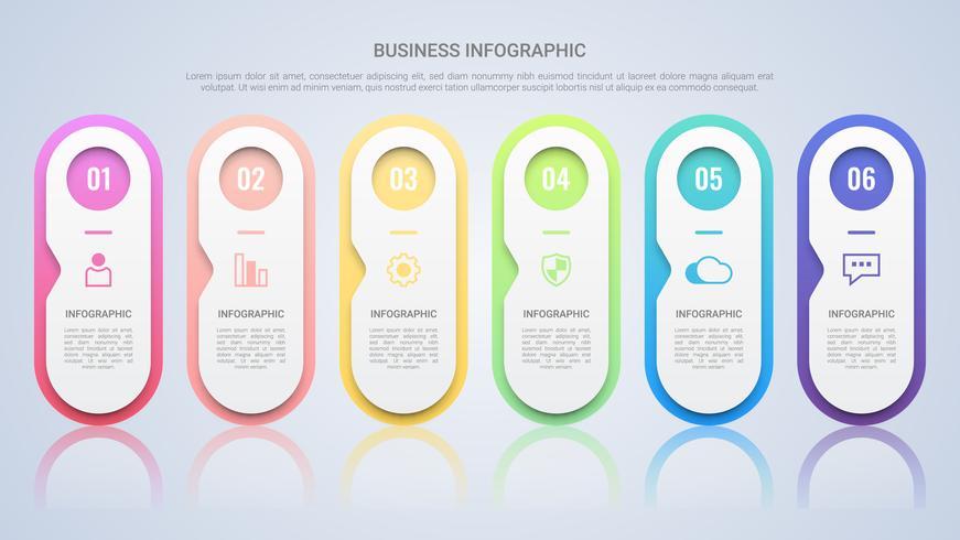Pulisca il modello infographic variopinto per l'affare con un'etichetta multicolore di sei punti vettore