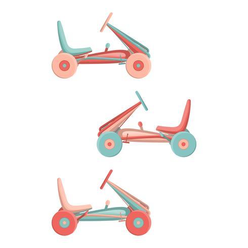 Cartoon bambini elettromobile. Icona isolata del parco di divertimenti. vettore
