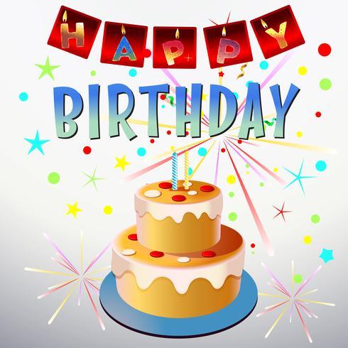 celebrazione della torta di compleanno vettore