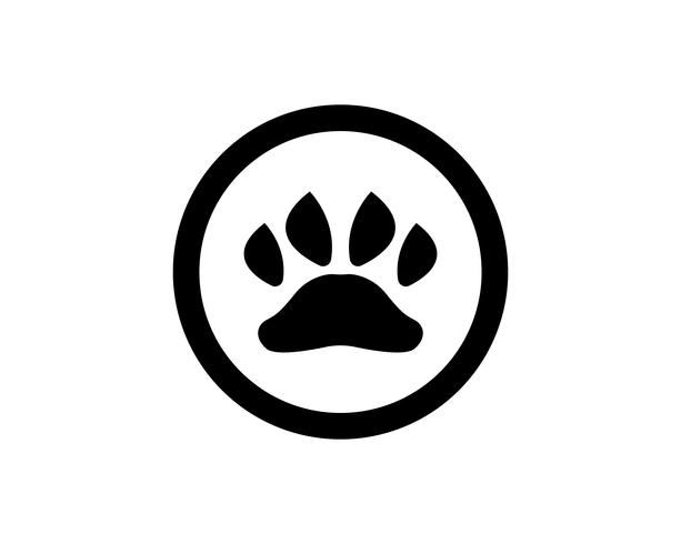 Logo e simboli dell'animale domestico dell'animale domestico del cane della stampa del piede vettore