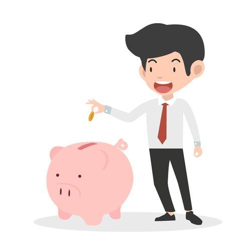 uomo d'affari che mette moneta un concetto di risparmio dei soldi della banca Piggy vettore