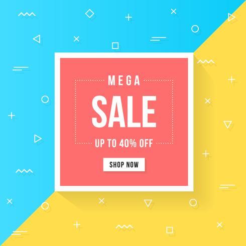 Banner di vendita e offerta geometrica, design piatto alla moda stile memphis vettore
