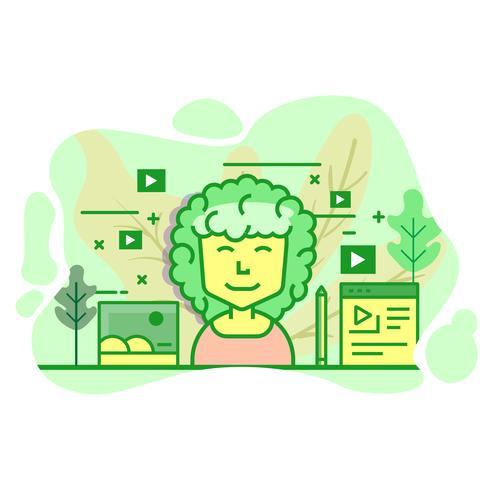 illustrazione moderna di colore verde piatto di vlogger vettore