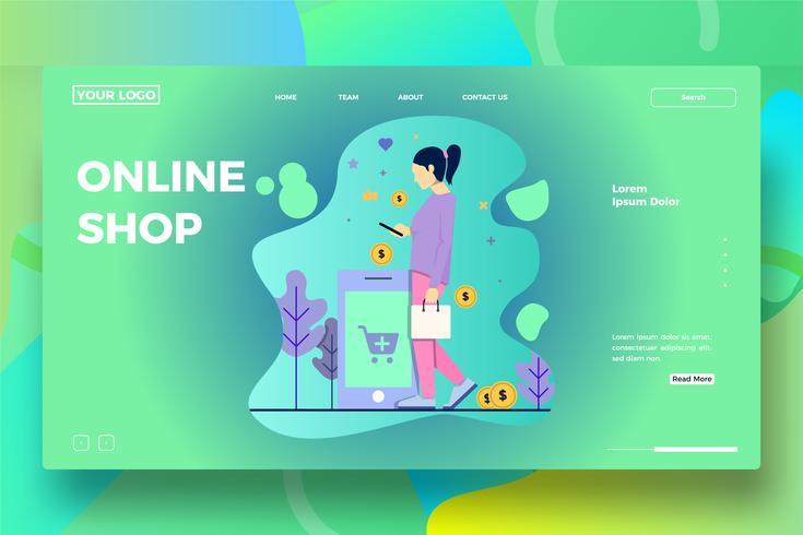 Modello di pagina di destinazione del negozio online o e-commerce vettore