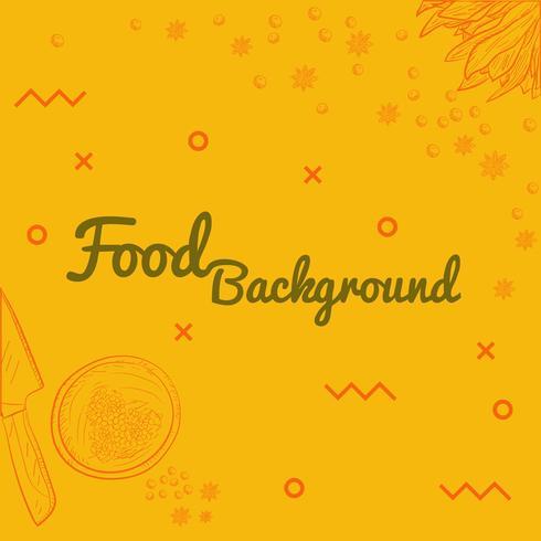 Disegnare a mano stile cibo sfondo per Tamplate vettore