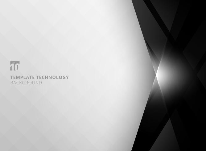 Tecnologia astratta geometrica colore nero lucido e movimento di illuminazione su sfondo bianco. Modello per brochure, stampa, annunci, riviste, poster, sito Web, riviste, opuscoli, relazione annuale. vettore