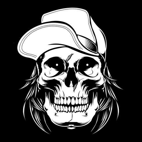 teschio indossando il cappello. disegno vettoriale a mano, disegni camicia, motociclista, disk jockey, signore, barbiere e molti altri.isolated e facile da modificare. Illustrazione vettoriale - Vector