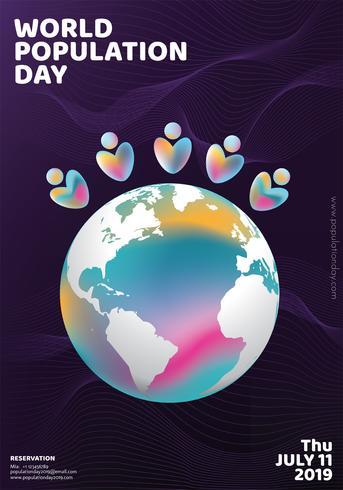 Giornata mondiale della popolazione Poster Design vettore