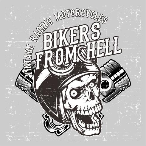 cranio di stile del grunge che indossa il retro e vettore del disegno della mano del pistone e del casco