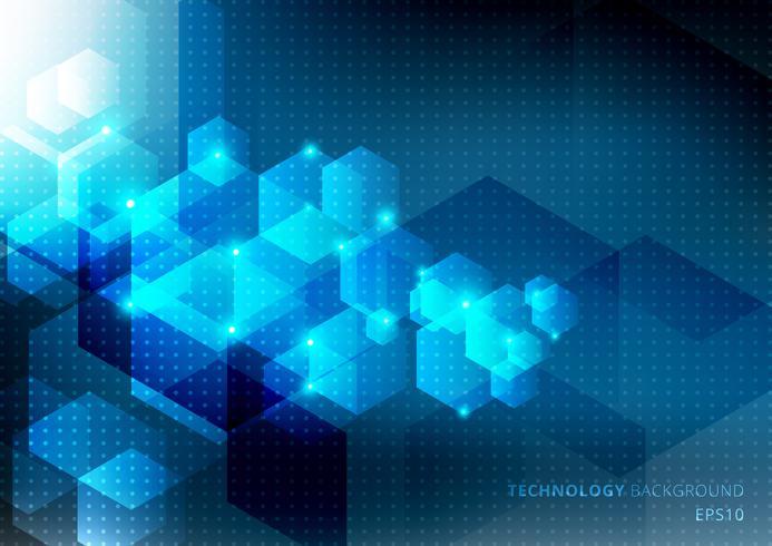 Il concetto astratto di scienza e tecnologia dagli elementi blu di esagoni emette luce su fondo blu scuro con struttura del modello di punti. Modello di media digitali tech geometrica. vettore