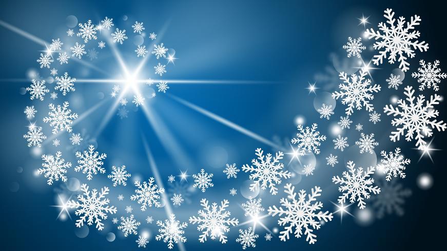 La cartolina d'auguri del buon anno e di Buon Natale in carta ha tagliato il fondo di stile. Illustrazione vettoriale Fiocchi di Natale celebrazione su sfondo blu per banner, flyer, poster, carta da parati, modello.