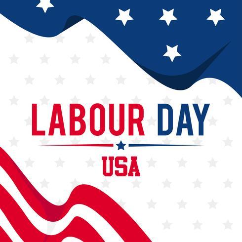 Illustrazione della festa del lavoro con sfondo utilizzando le bandiere americane vettore