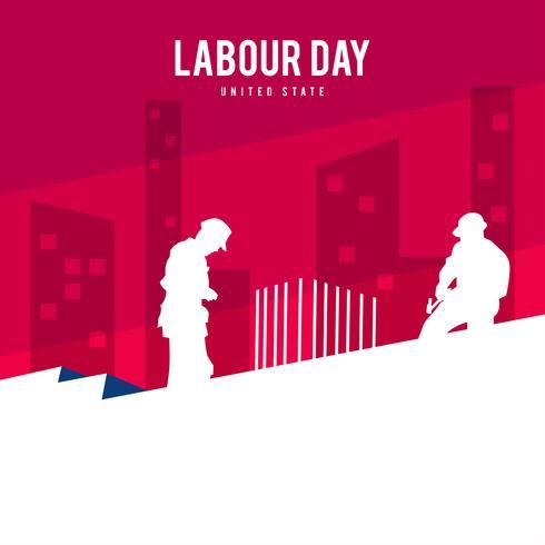Illustrazione della festa del lavoro che mostra i lavoratori sopra l'edificio facendo il loro lavoro vettore