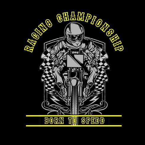 Skull moto da corsa a mano disegno vettoriale disegno a mano, disegni di camicia, motociclista, disk jockey, gentiluomo, barbiere e molti altri. isolato e facile da modificare. Illustrazione vettoriale - Vector