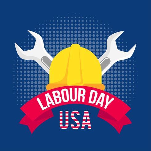 Illustrazione della festa del lavoro con un casco giallo e due chiavi vettore