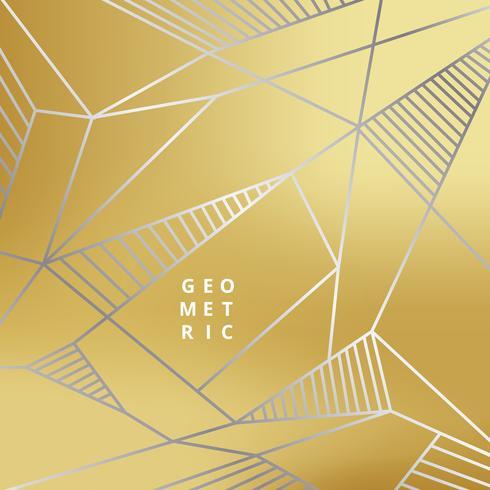 Linea d'argento astratta geometrica su stile di lusso sfondo oro. vettore