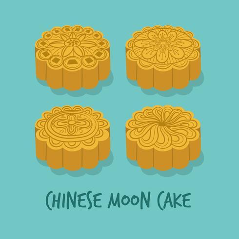 Set delle torte Moon cinesi per il Mid Autumn Festival. Buon autunno. Chuseok Festival. Vettore - illustrazione.