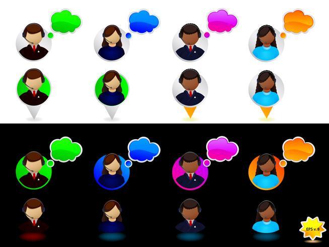 Set di icone di supporto online vettore