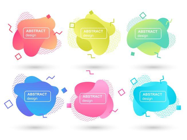 Set di liquido astratto forme elementi grafici moderni. Forma e linea di design fluido. Banner astratto gradiente. Modello per la progettazione di un logo, un flyer o una presentazione. Illustrazione vettoriale