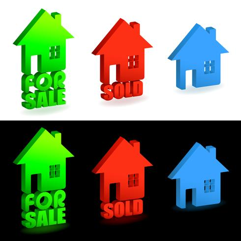 Casa in vendita e segni venduti vettore
